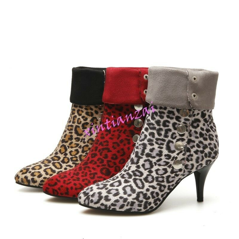 NEW Womens Faux Suede Heels Leopard Mid Calf Boot Stilettos Pointy Toe shoes HOT
