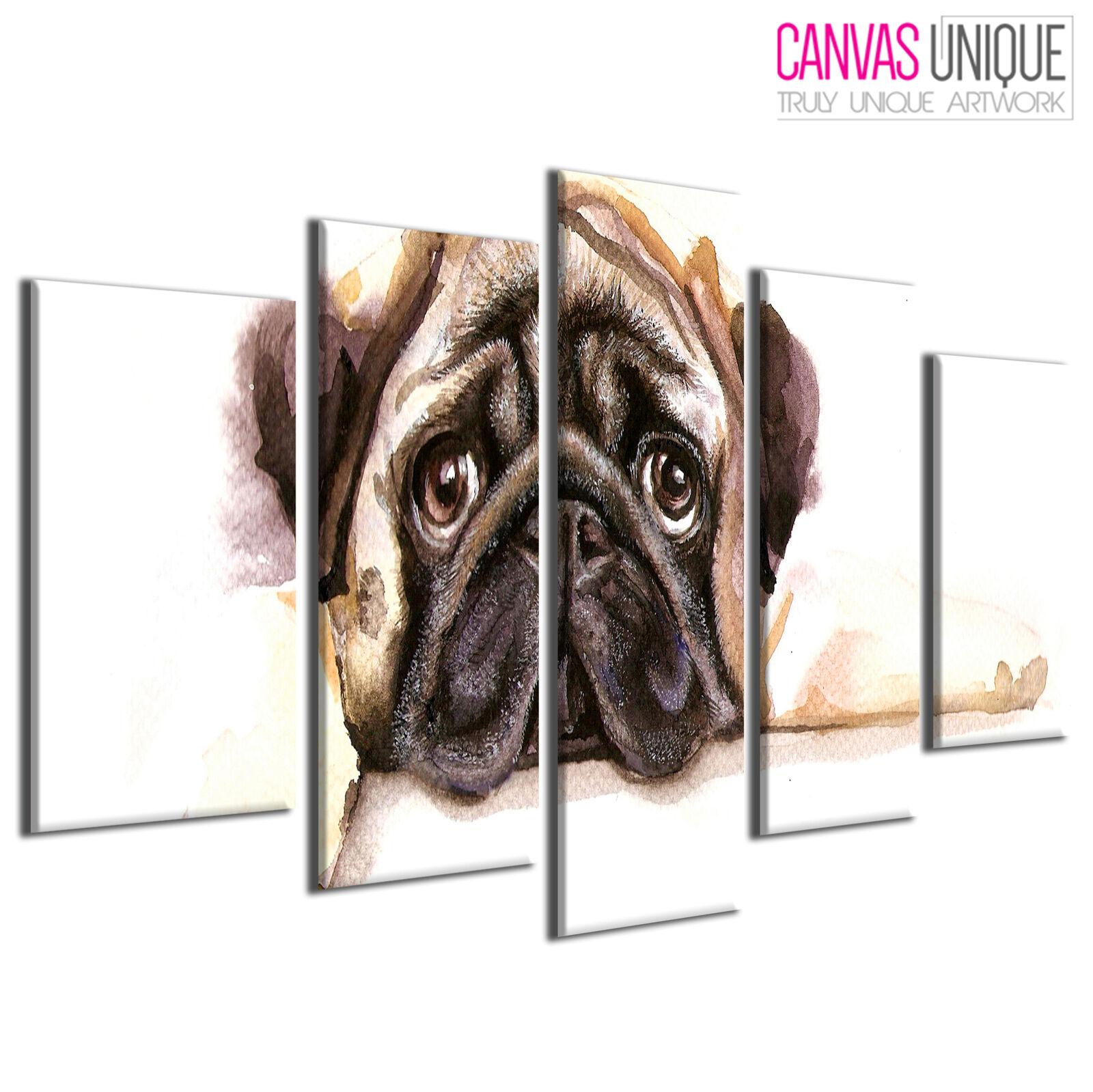 5PA758 braun Watercolour Dog Pug  Animal Multi Frame Canvas Wall Art Print