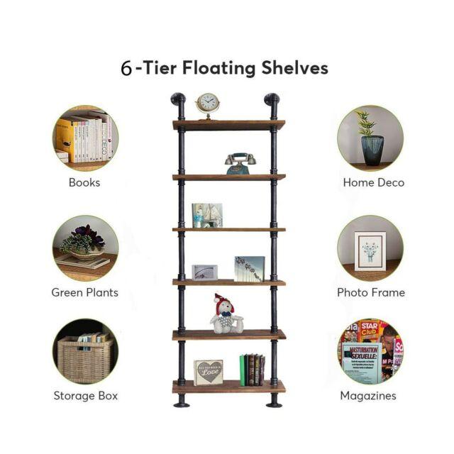 6 Layer Industrial Modern Wood Ladder Pipe Wall Book Shelf Storage DIY Design