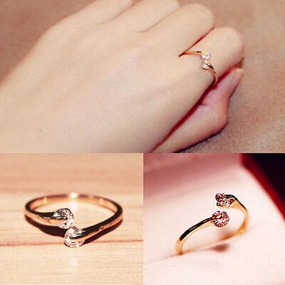 Fashion Women 18k  Gold Plated Crystal Rhinestone Finger Ring Engagement Jewelry