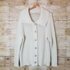 Caslon Nordstrom Womens Cream Chunky Knit Button Front Sweater Plus