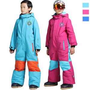 55283e3d5f3e Kids Boys Girls Padded Ski One Piece Outdoor Waterproof Snow ...
