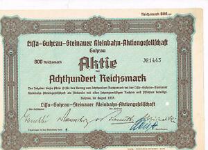 Lissa-Guhrau-Steinauer-Kleinbahn-AG-Guhrau-Gora-Polen-1937-800-RM-gelocht