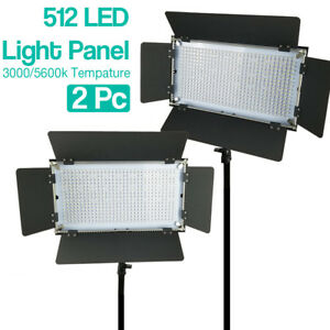 Details About 2 Pack Studio 512 Led Barn Door Light Panel 5600k Lighting Unit With Gel Filters