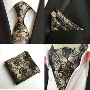 Men-Paisley-Floral-Black-Silk-Neck-Tie-Cravat-Ascot-Pocket-Square-Set-Lot