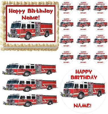 All Sizes! Fire Truck Rescue Vehicles Party Edible Cake Topper Frosting Sheet Home & Garden