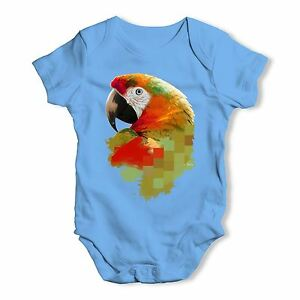 Watercolour-Pixel-McCaw-Parrot-039-s-Face-Baby-Unisex-Funny-Baby-Grow-Bodysuit