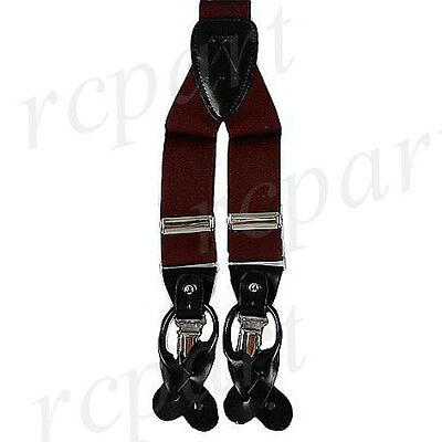 New Y back Men/'s Vesuvio Napoli Suspenders Braces clip on formal prom burgundy