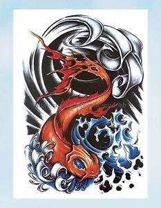 Cool Small Japanese Koi Fish Carp Large 8 25 Amp Amp Quot Half Sleeve Tattoo Ebay