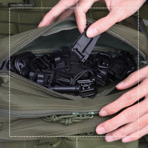 Details about  /Outdoor Molle Tactical Hanging Buckle Set Backpack Carabiner Webbing Pipe Clips