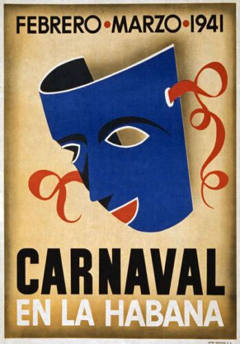 Tw86 Vintage 1940 Carnaval Habana Carnaval La Habana Cuba Cartel Viaje A4