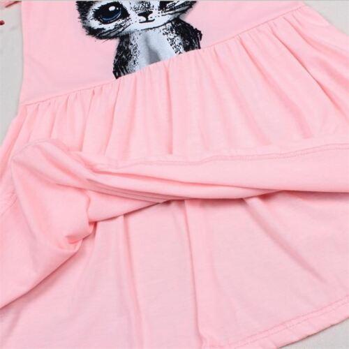 girl summer dress cat print grey baby children clothing  0-8years