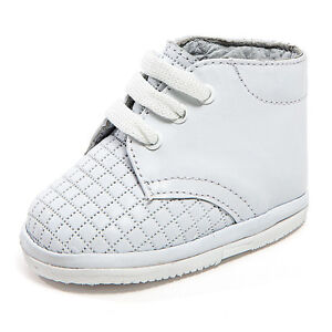 Baby Boy White Leather High Top shoes with Laces small ...
