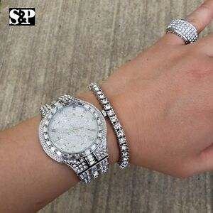 MEN-HIP-HOP-ICED-OUT-QUAVO-BLING-WATCH-amp-RING-amp-TENNIS-CHAIN-BRACELET-COMBO-SET