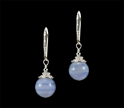 WM .925 Sterling Silver Blue Lace Agate /& Marcasite Earrings 15.9g