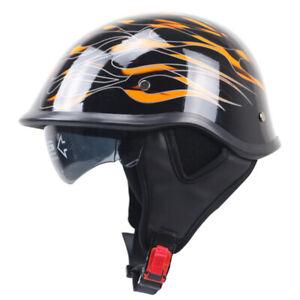 DOT Motorcycle Half Helmet Skull Cap Integrated Sun Visor Scooter Black w/Flame