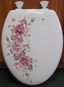 Hand Painted Rosestoilet Seatburgundy Mauve Elongatedbeautiful