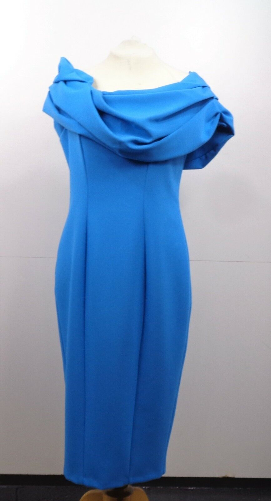Formal Teal Dress with Ruffled Collar - Mother of the Bride Wedding UK 12 G2 HB4