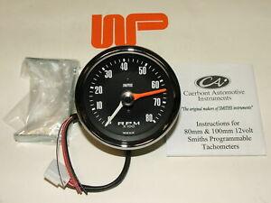 CLASSIC MINI - 80MM SMITH'S REV COUNTER TACHO in Black 0 - 8000 rpm - GAE130