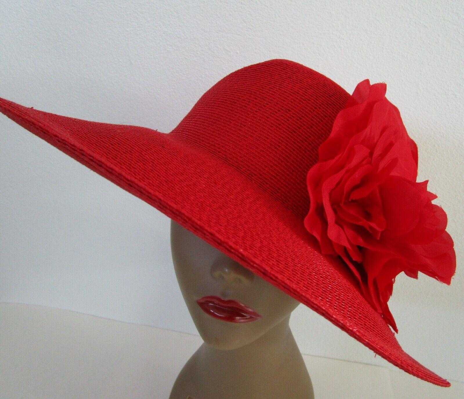 Patricia Underwood Red Wide Brim Hat Silk Flower … - image 7