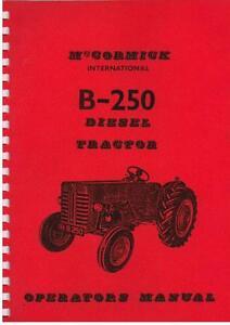 mccormick international tractor b250 operators manual ebay rh ebay com Tractor Owners Manuals John Deere Tractor Manuals
