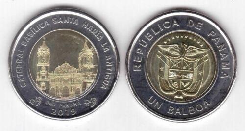 NEW ISSUE BIMETAL 1 BALBOA UNC COIN 2019 YEAR BASILICA SANTA MARIA PANAMA