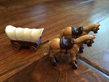 lot of 3, 2 saddle horses and a covered wagon, miniature play plastic animals