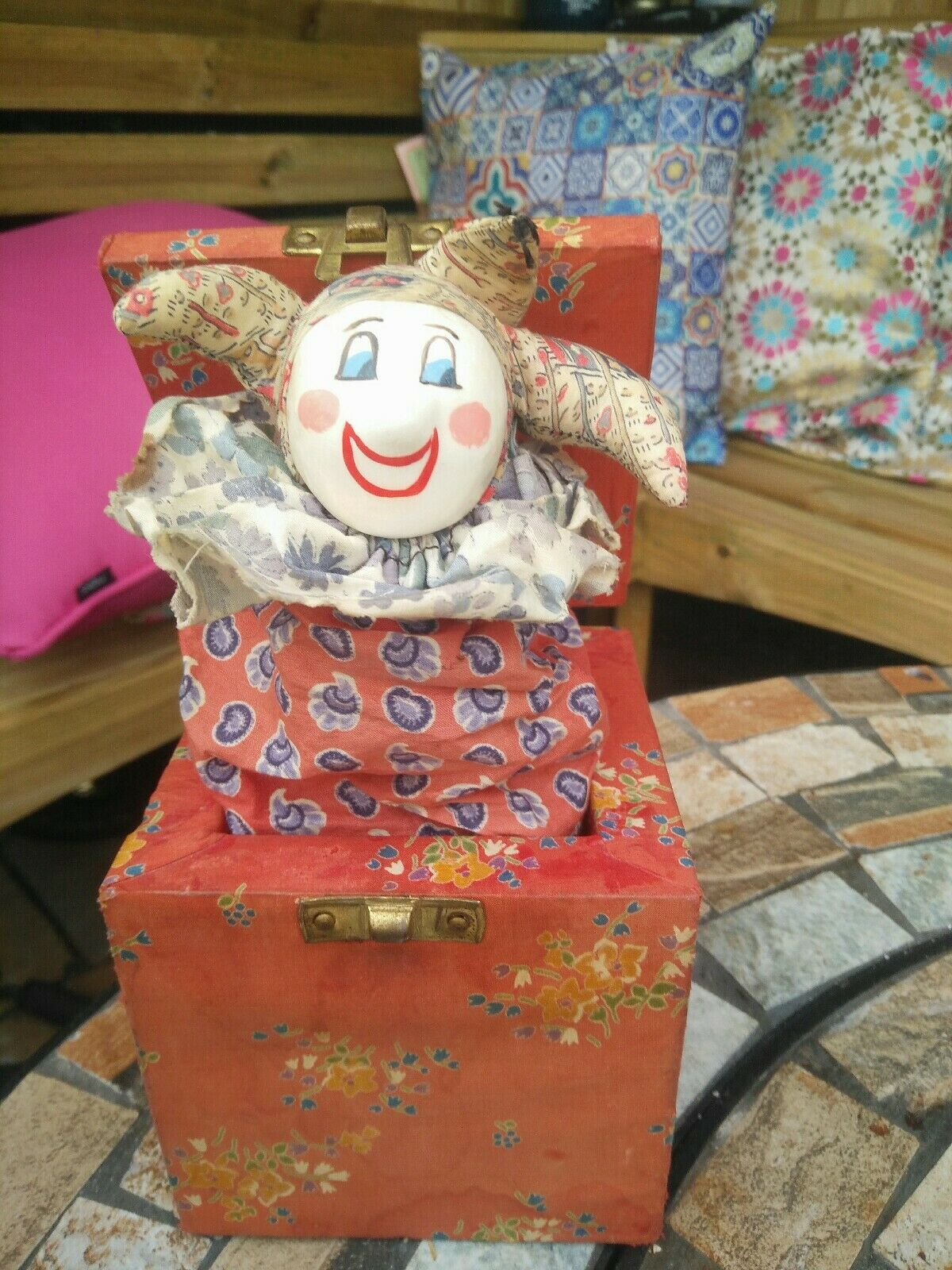 Antique Jack in The Box RARE Jester Toy Scary Clown Halloween