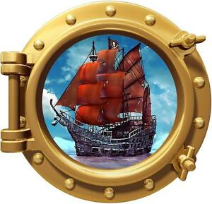 Pirate Ship Porthole Decal Removable Graphic Wall Sticker