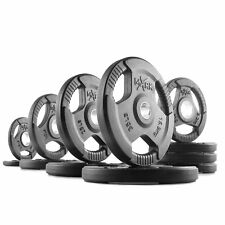 XMark Fitness Premium Quality Rubber Coated Tri-grip Olympic Plate Weights 165 LB