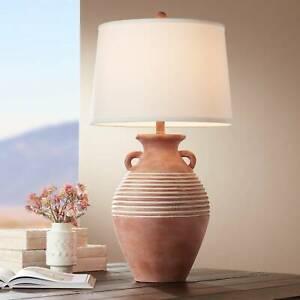 Rustic-Table-Lamp-Southwest-Red-Brown-Sandstone-Linen-Shade-Living-Room-Bedroom