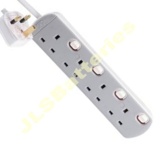 2m commuté neon mains Rallonge 4 Gang 2 mètres de câble Gris Blanc 4G 13A