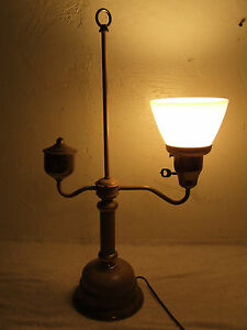 Image Is Loading Vintage Brass Single Student Desk Lamp Electric Table