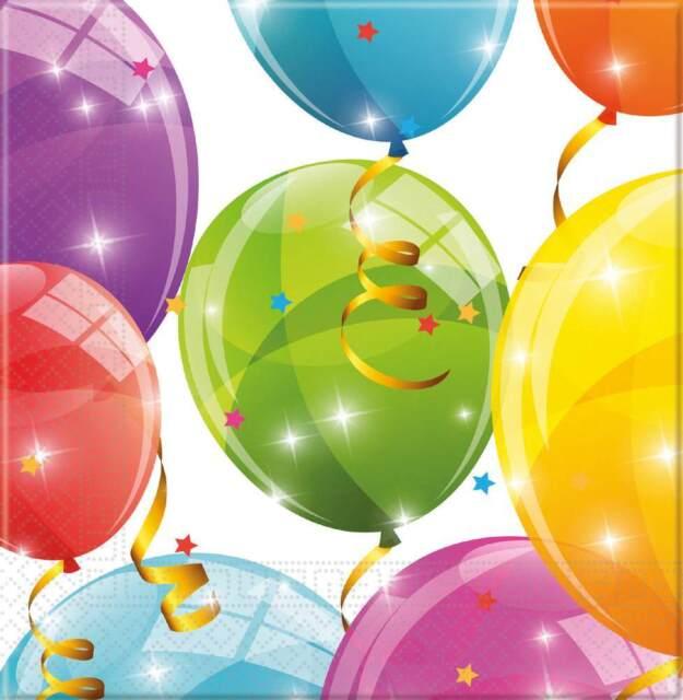 Milestone 80 Servietten Procos 88871 80er Geburtstag 20 St/ück 33x33cm Ballonmotiv