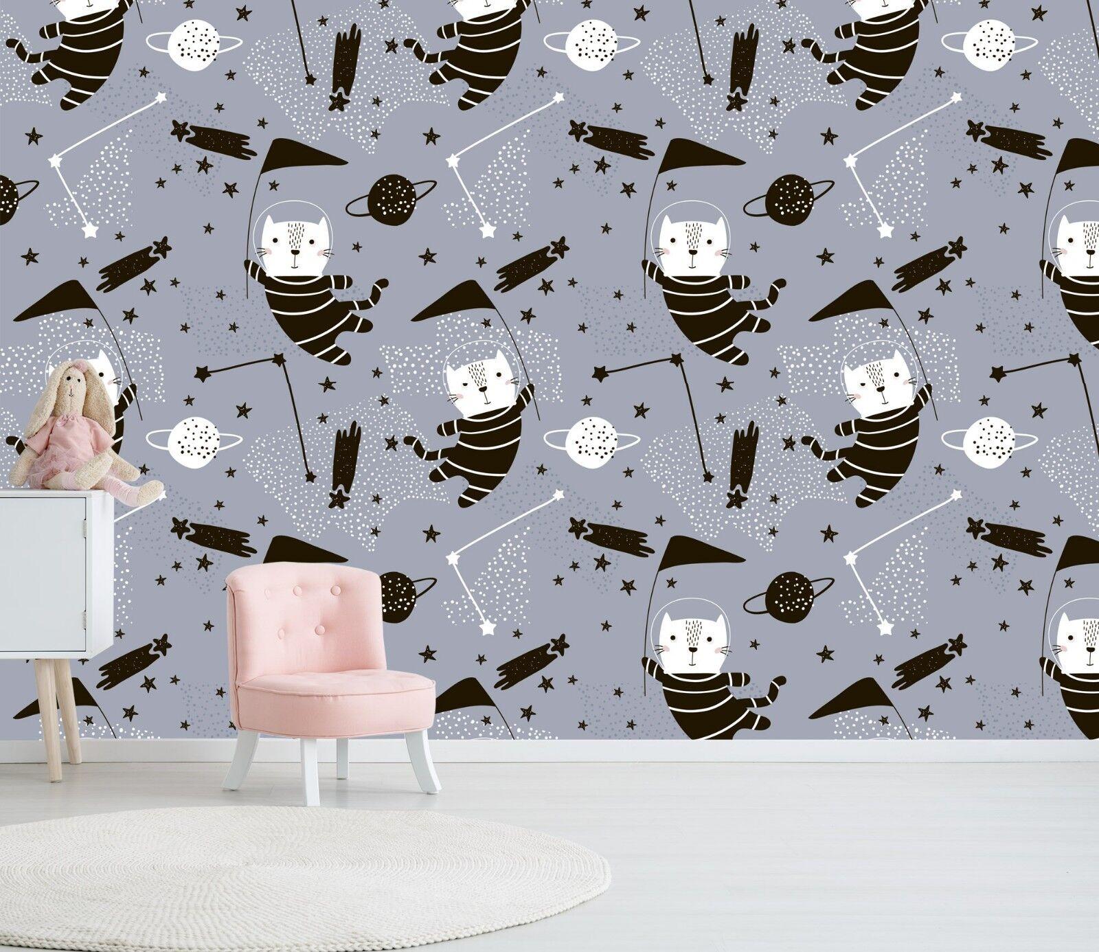 45 Universe Cat 3D Wallpaper Space AU WALL AJ Mural