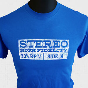 Stereo-High-Fidelity-Retro-T-Shirt-33-1-3-RPM-LP-Album-Cool-Vintage-Records-Blue