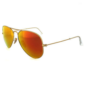 07541c63f7e Ray Ban RB 3025 112 69 Orange Flash Lens Gold Frame Aviator Sunglasses 55mm
