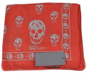 New Alexander Mcqueen $365 110640 Red Grey SKULL Silk