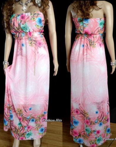 Langes Kleid Sommerkleid Maxikleid Chiffon Blumen Bandeau Italy Kleid 34 36 38