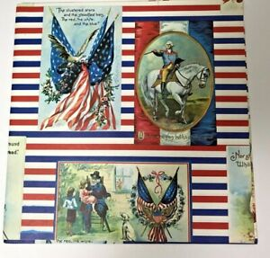 Lot-of-2-Gift-Wrap-Wrapping-Paper-Flag-Stars-amp-Strips-Red-White-Blue-8-feet