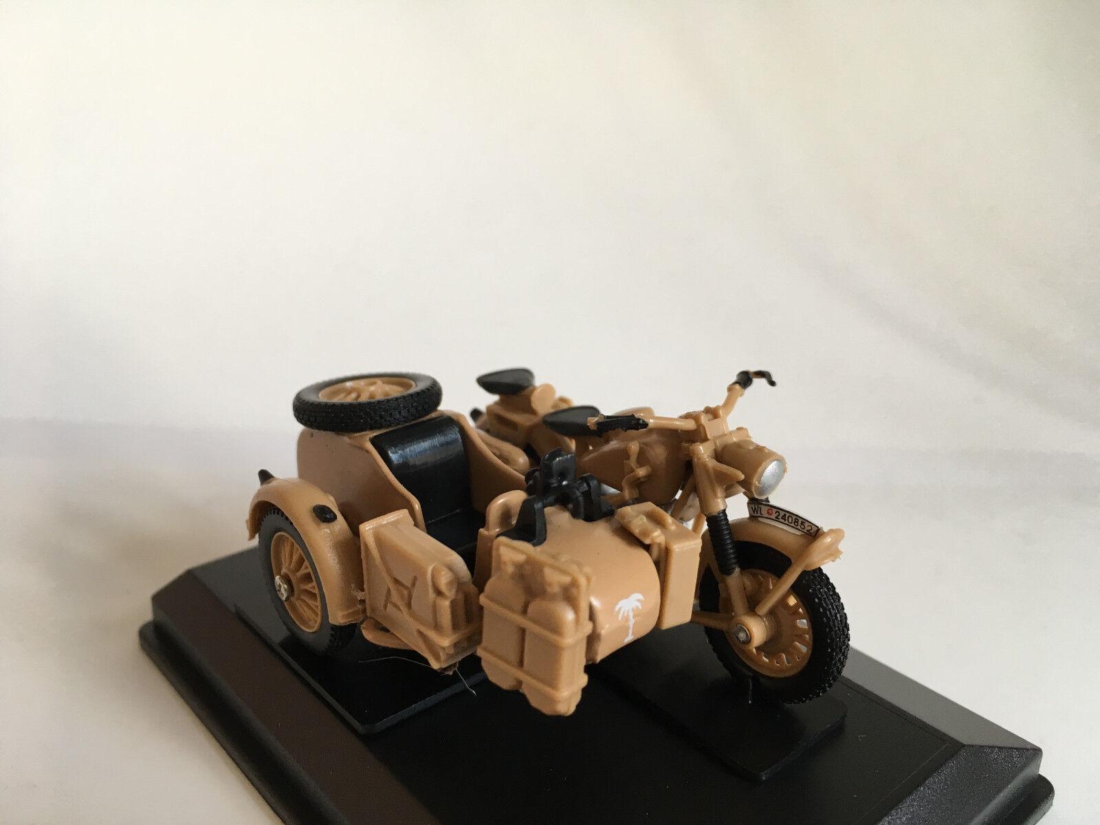 Bmw b r 75 con sidecar África cuerpo de Rommel embalaje original y nuevo de Cararama. grado 1:43