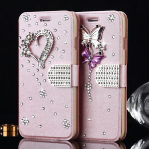 Bling-Glitter-Diamond-Crystal-Leather-Flip-Wallet-Case-Cover-For-iPhone-Samsung