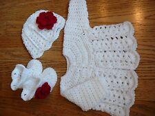 Handmade crochet white baby girl sweater, hat&booties set red flower Newborn-3m