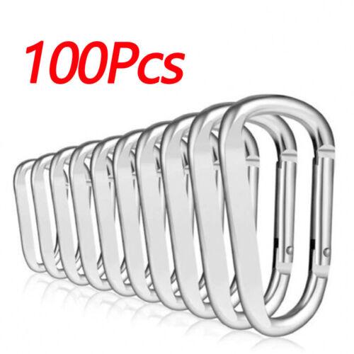 50//100pcs Mini Aluminum Alloy Key Chain Buckle Snap Spring Clip Hook Carabiner