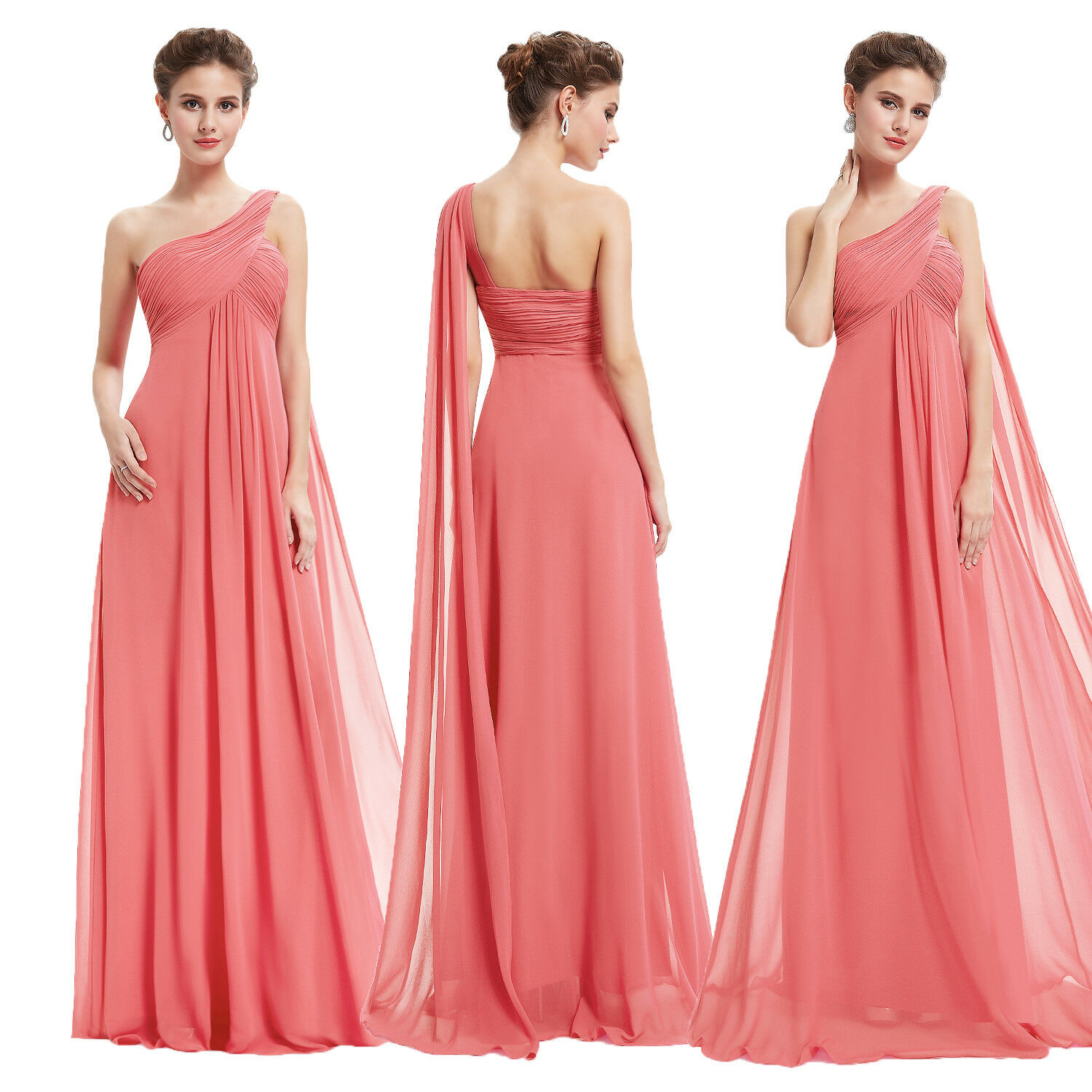 Ever-Pretty UK One-shoulder Coral Bridesmaid Dresses Long Party Prom Gowns 09816