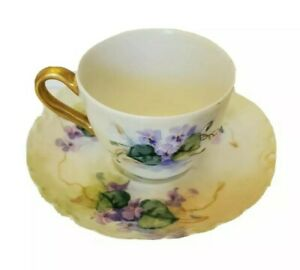 ANTIQUE-RARE-LIMOGES-FRANCE-LANTERNIER-HAND-PAINT-DEMITASSE-CUP-amp-SAUCER-1888