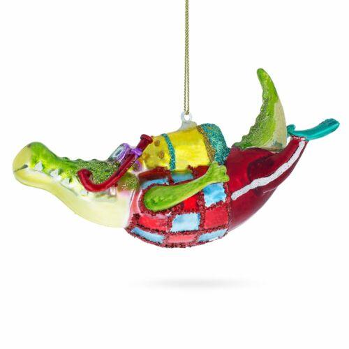Alligator the Scuba Diver Glass Christmas Ornament