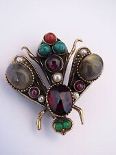 """Vintage Estate ALCOZER & J Multi-Stone Cabochon Insect Fly Pin Brooch 1 ⅛""""Length"""