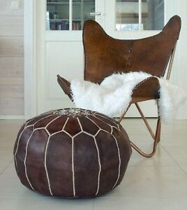 Moroccan Pouf Dark Leather Ottoman Footstool High Quality