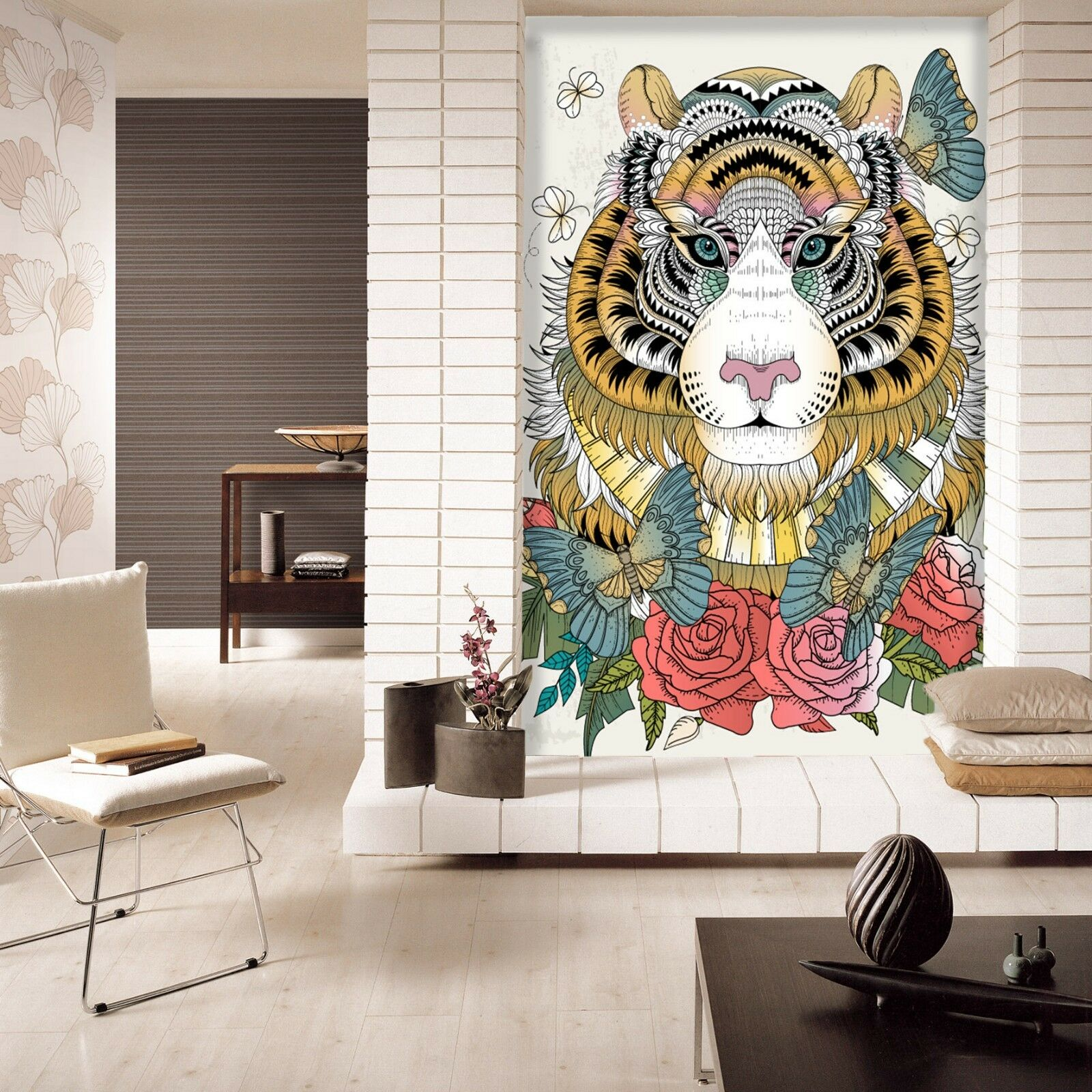 3D lion Butterfly Wall Paper Murals Wall Print Decal Wall Deco AJ WALLPAPER